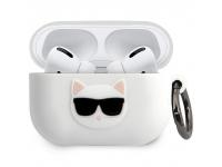 Husa Protectie Casti Karl Lagerfeld Choupette Head pentru Apple AirPods Pro, Alba KLACAPSILCHWH
