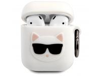 Husa Protectie Casti Karl Lagerfeld Choupette Head pentru Apple AirPods Gen 1 / Apple AirPods Gen 2, Alba KLACA2SILCHWH