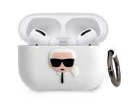 Husa Protectie Casti Karl Lagerfeld Karl Head pentru Apple AirPods Pro, Alba KLACAPSILGLWH