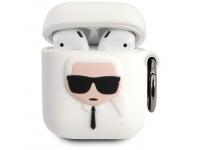 Husa Protectie Casti Karl Lagerfeld Karl Head pentru Apple AirPods Gen 1 / Apple AirPods Gen 2, Alba KLACCSILKHWH