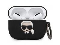 Husa Protectie Casti Karl Lagerfeld Iconic Bundle pentru Apple AirPods Pro, + Baterie Externa 2000 mA, Neagra KLBPPBOAPK