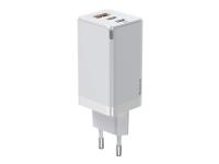 Incarcator Retea cu cablu USB Type-C Baseus GaN Pro, 65W, 1 X USB - 2 X USB Tip C, Alb CCGAN2P-B02