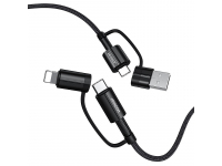 Cablu Date si Incarcare USB Type-C / USB - USB Type-C / Lightning Joyroom S-1230G3, 1.2 m, 60 W, Negru