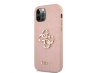 Husa Piele Guess Saffiano Big 4G Metal Logo pentru Apple iPhone 12 Pro Max, Roz GUHCP12LSA4GGPI