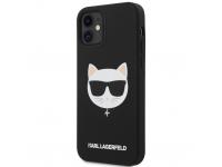 Husa TPU Karl Lagerfeld Choupette Head pentru Apple iPhone 12 mini, Neagra KLHCP12SSLCHBK