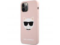 Husa TPU Karl Lagerfeld Choupette Head pentru Apple iPhone 12 Pro Max, Roz KLHCP12LSLCHLP