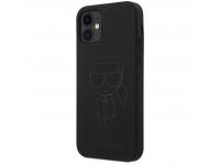 Husa TPU Karl Lagerfeld pentru Apple iPhone 12 mini, Iconic Outline Tone on Tone, Neagra KLHCP12SSILTTBK