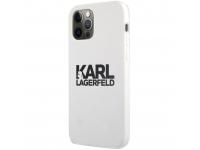 Husa TPU Karl Lagerfeld pentru Apple iPhone 12 Pro Max, Stack Black Logo, Alba KLHCP12LSLKLWH