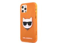 Husa TPU Karl Lagerfeld Choupette Head pentru Apple iPhone 12 / Apple iPhone 12 Pro, Portocalie KLHCP12MCHTRO