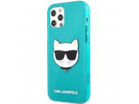 Husa TPU Karl Lagerfeld Choupette Head pentru Apple iPhone 12 Pro Max, Turcoaz KLHCP12LCHTRB