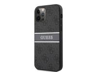Husa Piele Guess 4G Printed Stripe pentru Apple iPhone 12 Pro Max, Gri GUHCP12L4GDGR
