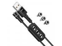 Cablu Incarcare USB - MicroUSB / Lightning / USB Type-C HOCO Sunway U98, 1.2 m, Magnetic, 2.4A, Negru