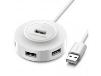 Hub USB UGREEN CR106, 4 x USB, 1m,  Alb