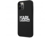 Husa TPU Karl Lagerfeld pentru Apple iPhone 12 / Apple iPhone 12 Pro, Stack White Logo, Neagra KLHCP12MSLKLRBK