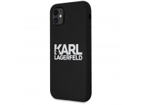 Husa TPU Karl Lagerfeld pentru Apple iPhone 11, Stack White Logo, Neagra KLHCN61SLKLRBK