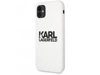 Husa TPU Karl Lagerfeld pentru Apple iPhone 11, Stack Black Logo, Alba KLHCN61SLKLWH