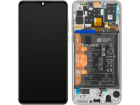 Display - Touchscreen Huawei P30 lite, Cu Rama, acumulator si piese, Versiune Camera frontala 32 MP, Alb 02352PJN