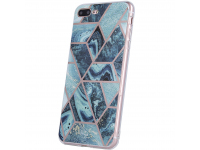 Husa TPU OEM Geometric Marmur pentru Samsung Galaxy A12 A125 / Samsung Galaxy M12, Albastra