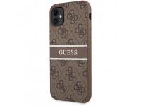 Husa Piele Guess 4G Printed Stripe pentru Apple iPhone 11, Maro GUHCN614GDBR