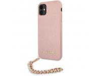 Husa Piele Guess Saffiano Gold Chain pentru Apple iPhone 11, Roz GUHCN61SASGPI