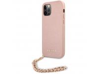 Husa Piele Guess Saffiano Gold Chain pentru Apple iPhone 12 / Apple iPhone 12 Pro, Roz GUHCP12MSASGPI