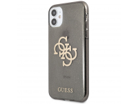 Husa Piele Guess Big 4G Full Glitter pentru Apple iPhone 11, Neagra GUHCN61PCUGL4GBK