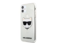 Husa TPU Karl Lagerfeld Choupette Head Glitter pentru Apple iPhone 11, Argintie KLHCN61CHTUGLS
