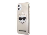 Husa TPU Karl Lagerfeld Choupette Head Glitter pentru Apple iPhone 11, Aurie KLHCN61CHTUGLGO