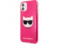 Husa TPU Karl Lagerfeld Choupette Head pentru Apple iPhone 11, Roz KLHCN61CHTRP