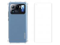 Pachet promotional Enkay pentru Xiaomi Mi 11 Ultra, Husa TPU Antisoc Transparenta + Folie Protectie Ecran (Plastic 3D, Fingerprint Unlock)
