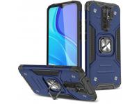 Husa Plastic - TPU WZK Ring Tough Armor Kickstand pentru Xiaomi Redmi 9, Bleumarin