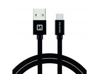 Cablu Date si Incarcare USB la USB Type-C Swissten Textile, 1.2, Negru