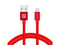 Cablu Date si Incarcare USB la USB Type-C Swissten Textile, 1.2 m, Rosu