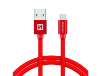 Cablu Date si Incarcare USB la USB Type-C Swissten Textile, 2 m, Rosu