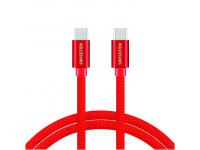 Cablu Date si Incarcare USB Type-C la USB Type-C Swissten Textile, 1.2 m, Rosu