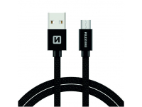 Cablu Date si Incarcare USB la MicroUSB Swissten Textile, 3 m, Negru