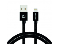 Cablu Date si Incarcare USB la Lightning Swissten Textile, 3 m, Negru