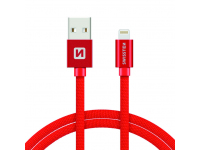Cablu Date si Incarcare USB la Lightning Swissten Textile, 3 m, Rosu