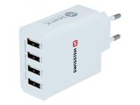 Incarcator Retea USB Swissten Smart IC, 5A, 4 x USB, Alb