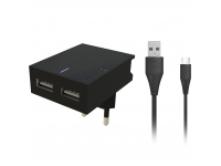 Incarcator Retea cu cablu MicroUSB Swissten Smart IC, Suport Device, 3A, 2 X USB, Negru