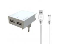 Incarcator Retea cu cablu USB Tip-C Swissten Smart IC, Suport Device, 3A, 2 X USB, Alb
