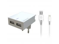 Incarcator Retea cu cablu Lightning Swissten Smart IC, Suport Device, 3A, 2 X USB, Alb