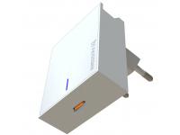 Incarcator Retea USB Swissten Travel, Suport Device, Quick Charge, 18W, 1 X USB Tip-C, Alb