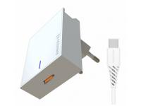 Incarcator Retea cu cablu USB Tip-C Swissten, Suport Device, Quick Charge, 25W, 1 x USB Type-C, Alb