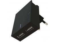 Incarcator Retea USB Swissten Travel, Suport Device, Quick Charge, 23W, 2 X USB, Negru