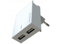Incarcator Retea USB Swissten Travel, Suport Device, Quick Charge, 23W, 2 X USB, Alb