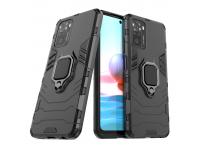 Husa Plastic - TPU OEM Ring Tough Armor Kickstand pentru Xiaomi Redmi Note 10 Pro, Neagra