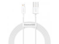 Cablu Date si Incarcare USB la Lightning Baseus Superior, 2 m, 2.4A, Alb CALYS-C02