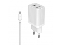 Incarcator Retea cu cablu MicroUSB WK-Design Kingkong, 2 X USB, 2.1A, 1m, Alb WP-U79m