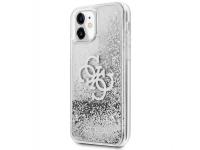 Husa Plastic - TPU Guess Big 4G Liquid Glitter Silver pentru Apple iPhone 11, Argintie Transparenta GUHCN61LG4GSI